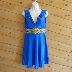 Meghan Blue Beaded Plated Ruffled V-neck Dress 4